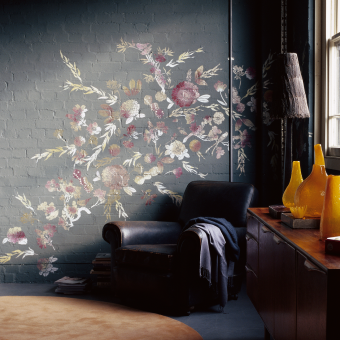 blommor målade på vägg tegel